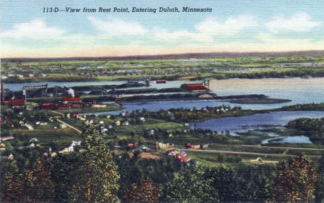 View from Rest Point, entering Duluth Minnesota, 1940
