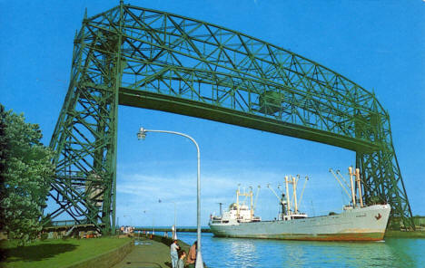 The freighter Himing from Skien, Norway, entering the Port of Duluth, 1960's?