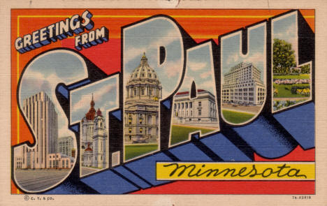 Greetings from St. Paul Minnesota Postcard, 1937