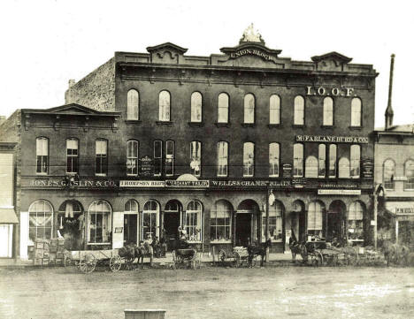 Union Block in Bridge Square, Minneapolis Minnesota, 1867