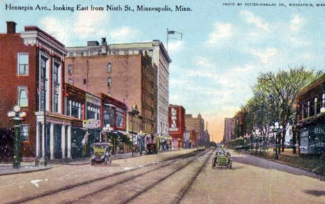 Hennepin Avenue looking East from 9th Street, Minneapolis Minnesota, 1909