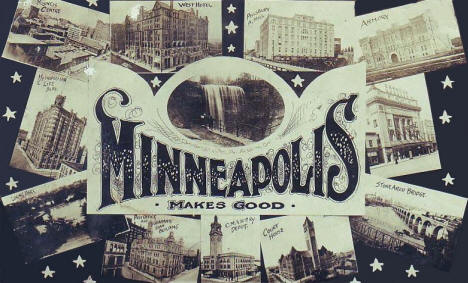 Multi-view of Minneapolis scenes, Minneapolis Minnesota, 1908