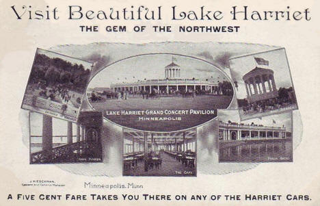Visit Lake Harriet Postcard, Minneapolis Minnesota, 1908