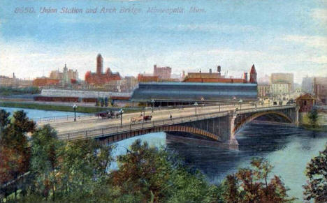 Union Station and Arch Bridge, Minneapolis Minnesota, 1900's
