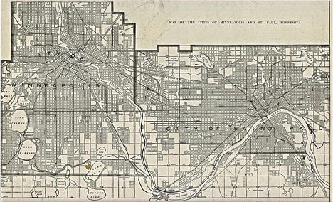 Map of Minneapolis and St. Paul, from The New Encyclopedic Atlas and Gazetteer of the World, 1906