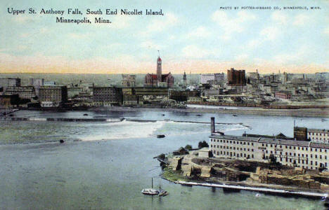 Upper St. Anthony Falls and the south end of Nicollet Island, Minneapolis Minnesota, 1910