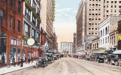 Looking north on 6th Street from Nicollet, Minneapolis Minnesota, 1910's