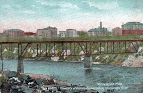 Bohemian Flats, Northern Pacific Railroad Bridge and the University of Minnesota, 1910's