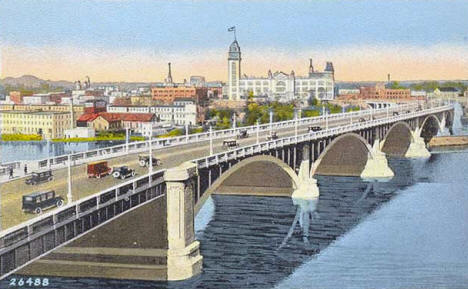St. Anthony Falls Bridge (now called the Third Avenue Bridge), Minneapolis Minnesota, 1920's