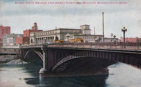 Steel Arch Bridge and Great Northern Station, Minneapolis Minnesota, 1920