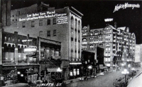 Fifth Street at night, Minneapolis Minnesota, 1920's