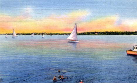 Sailboating on Lake Calhoun, Minneapolis Minnesota, 1933