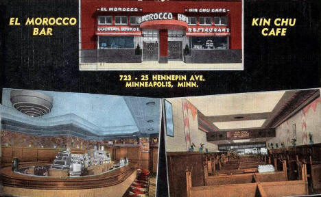 El Morocco Bar and Kin Chu Restaurant, Minneapolis Minnesota, 1940's