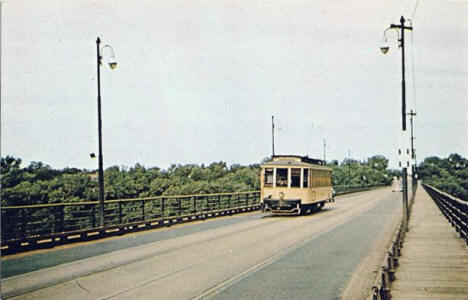 Street car on the Lake Street Bridge, Minneapolis Minnesota, 1940's
