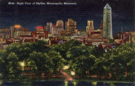 Night View of Skyline, Minneapolis Minnesota, 1941