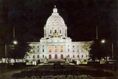 Night view of the Minnesota State Capitol, St. Paul, 1970's