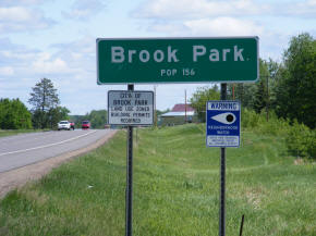 Brook Park Minnesota Highway Sign