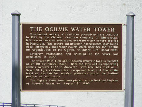 Plaque commemorating the Ogilvie Water Tower, 2007