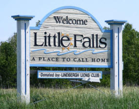 Little Falls Minnesota Welcome Sign