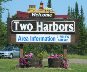 Two Harbors Minnesota Welcome Sign