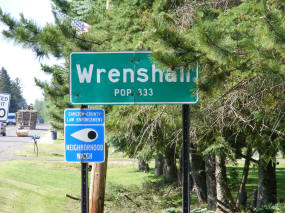 Wrenshall Minnesota highway sign