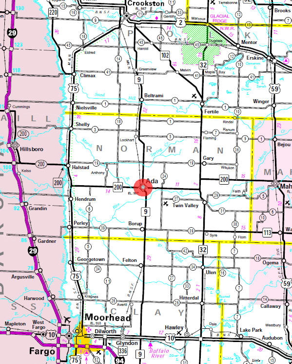 Minnesota State Highway Map of the Ada Minnesota area