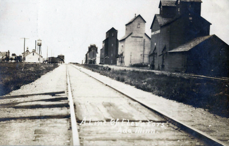 Elevators and Depot, Ada Minnesota, 1908