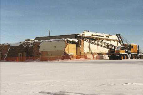 Flood-damaged Ada High School being torn down, Winter 1997-1998