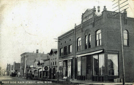 West side, Main Street, Ada Minnesota, 1909