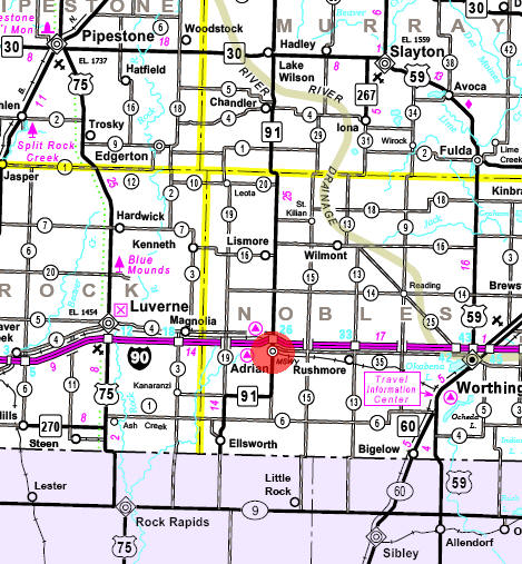 Minnesota State Highway Map of the Adrian Minnesota area