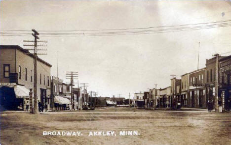 Broadway, Akeley Minnesota, 1910