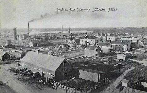 Birds eye view, Akeley Minnesota, 1910's