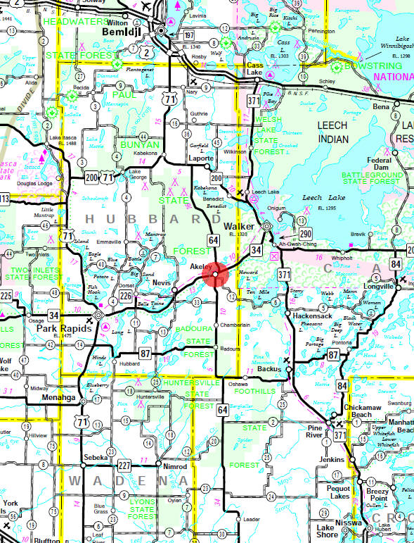 Minnesota State Highway Map of the Akeley Minnesota area