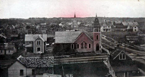 Birds eye view, Akeley Minnesota, 1910's?