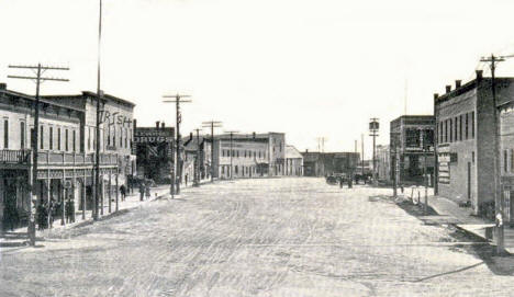 Gracon Avenue looking south, Akeley Minnesota, 1910's