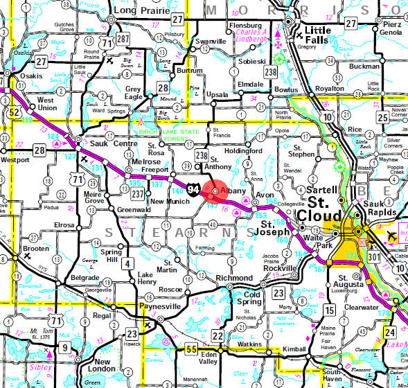 Minnesota State Highway Map of the Albany Minnesota area