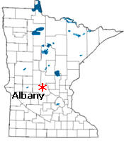 Location of Albany Minnesota