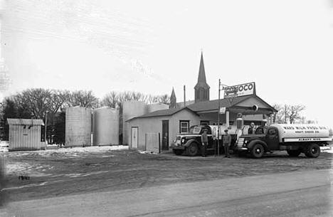 Trucks at Conoco Station, Albany Minnesota, 1941