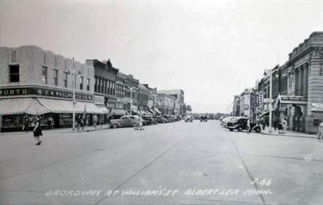Broadway at Williams Street, Albert Lea Minnesota, 1940's