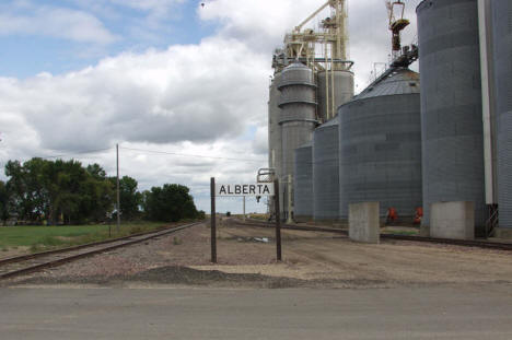Grain elevators and railroad tracks, Alberta Minnesota, 2006