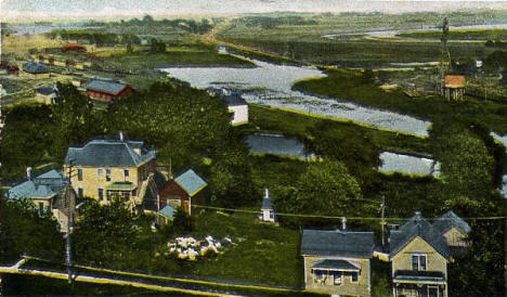 Birds eye view looking east from the Courthouse, Albert Lea Minnesota, 1910's