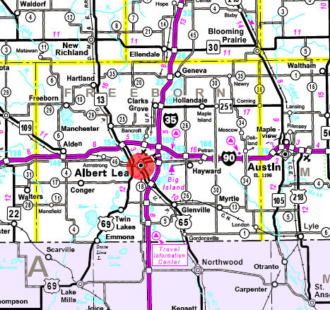 Minnesota State Highway Map of the Albert Lea Minnesota area