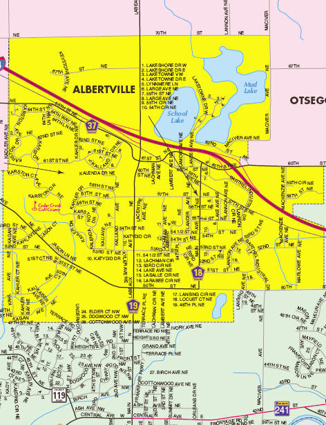 Wright County Map of the Albertville area