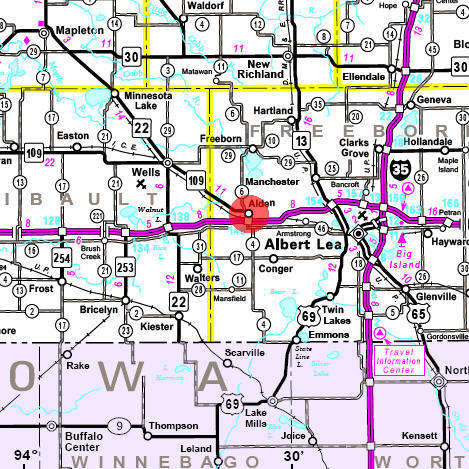 Minnesota State Highway Map of the Alden Minnesota area
