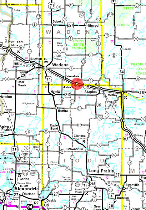Minnesota State Highway Map of the Aldrich Minnesota area