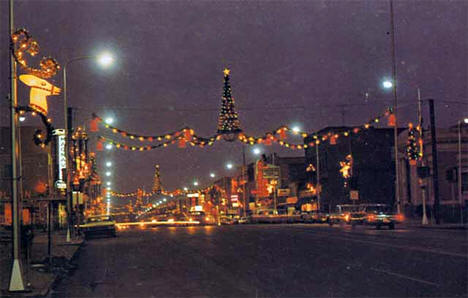 Broadway Avenue decorated for Christmas, Alexandria Minnesota, 1965