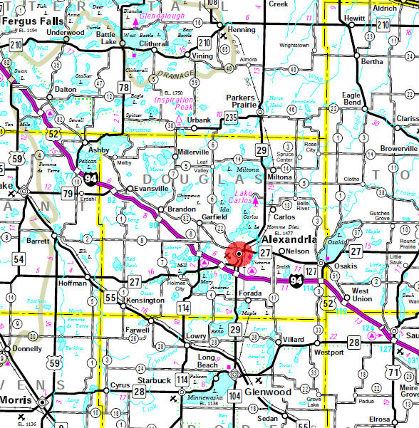 Minnesota State Highway Map of the Alexandria Minnesota area