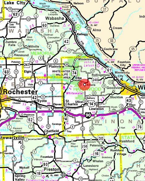 Minnesota State Highway Map of the Altura Minnesota area