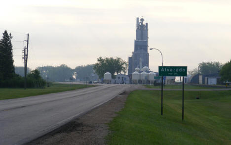Entering Alvarado Minnesota, grain elevator in background, 2008