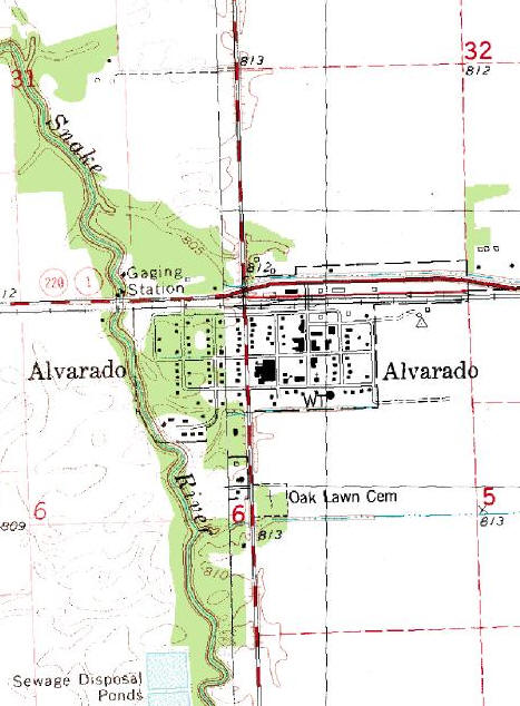 Topographic Map of the Alvarado Minnesota area